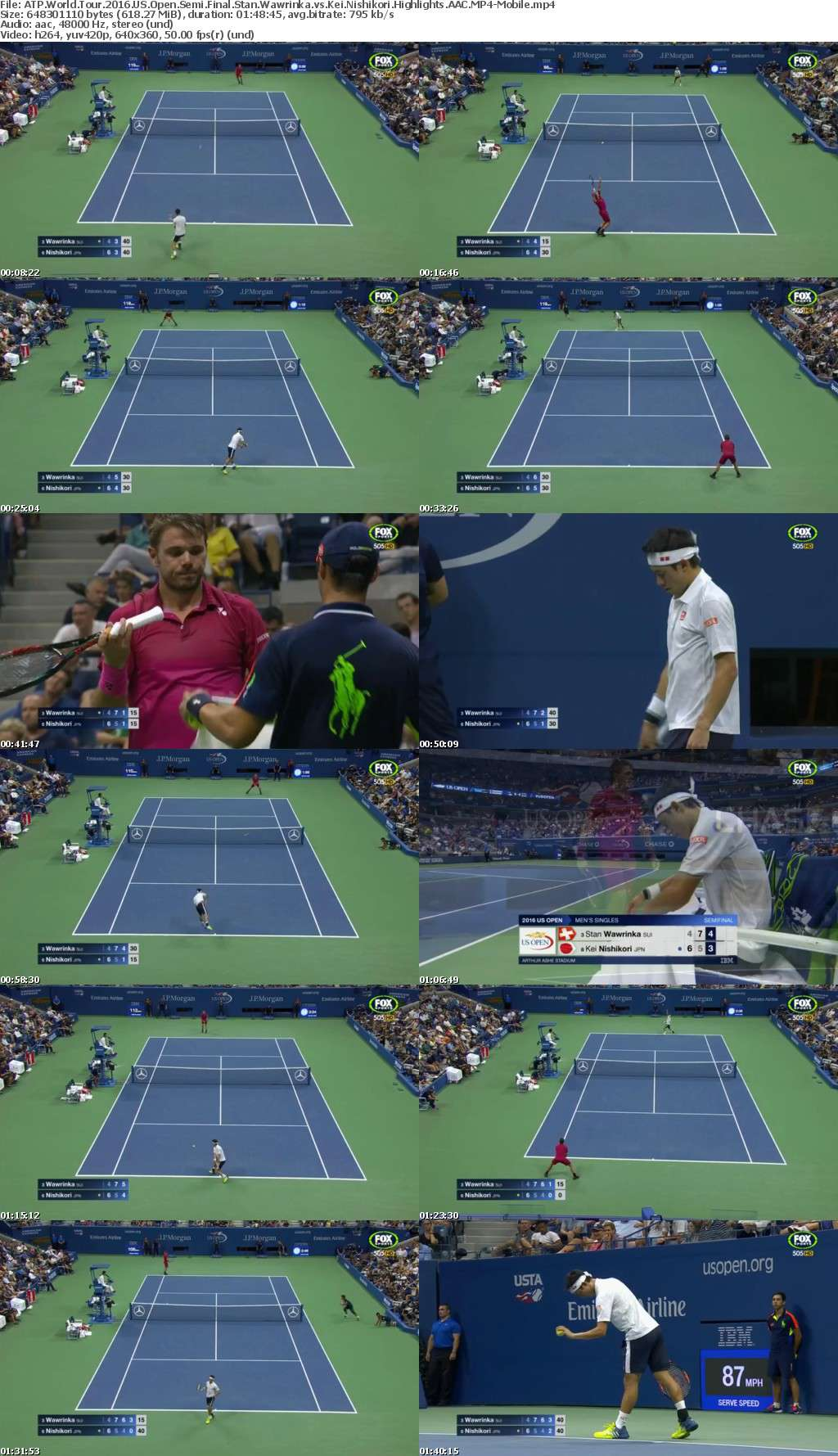 ATP World Tour 2016 US Open Semi Final Stan Wawrinka vs Kei Nishikori Highlights AAC-Mobile