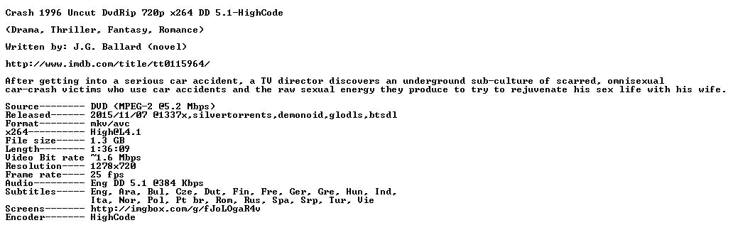 Crash 1996 Uncut DvdRip 720p x264 DD 5 1-HighCode