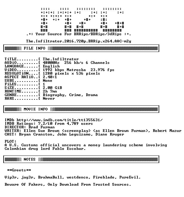 The Infiltrator 2016 720p BRRip x264 AAC-m2g