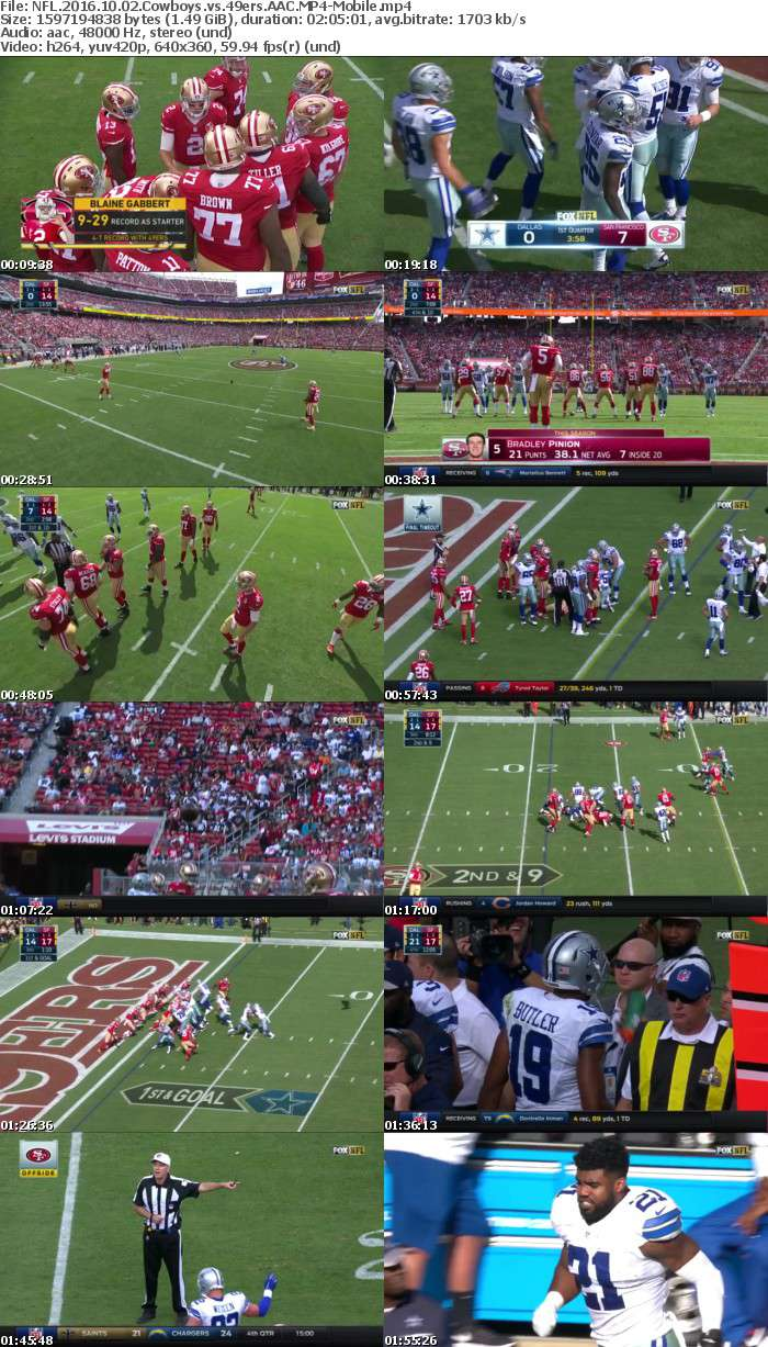 NFL 2016 10 02 Cowboys vs 49ers AAC-Mobile