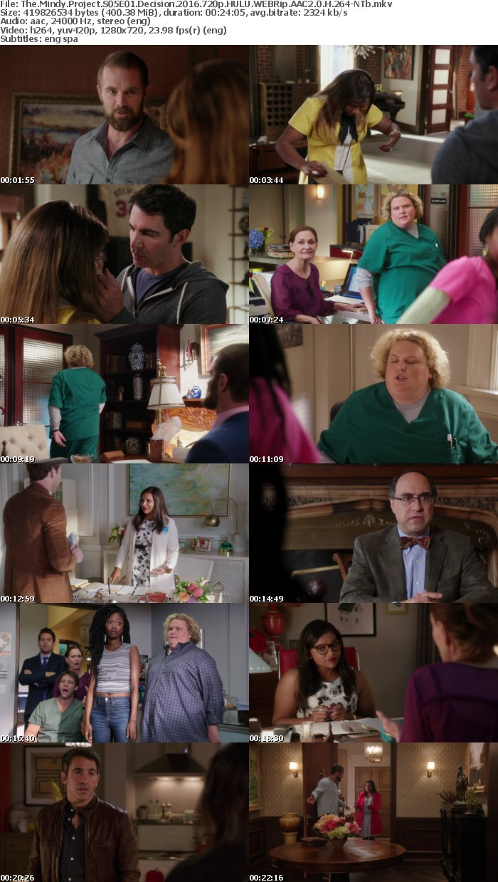 The Mindy Project S05E01 Decision 2016 720p HULU WEBRip AAC2 0 H 264 NTb