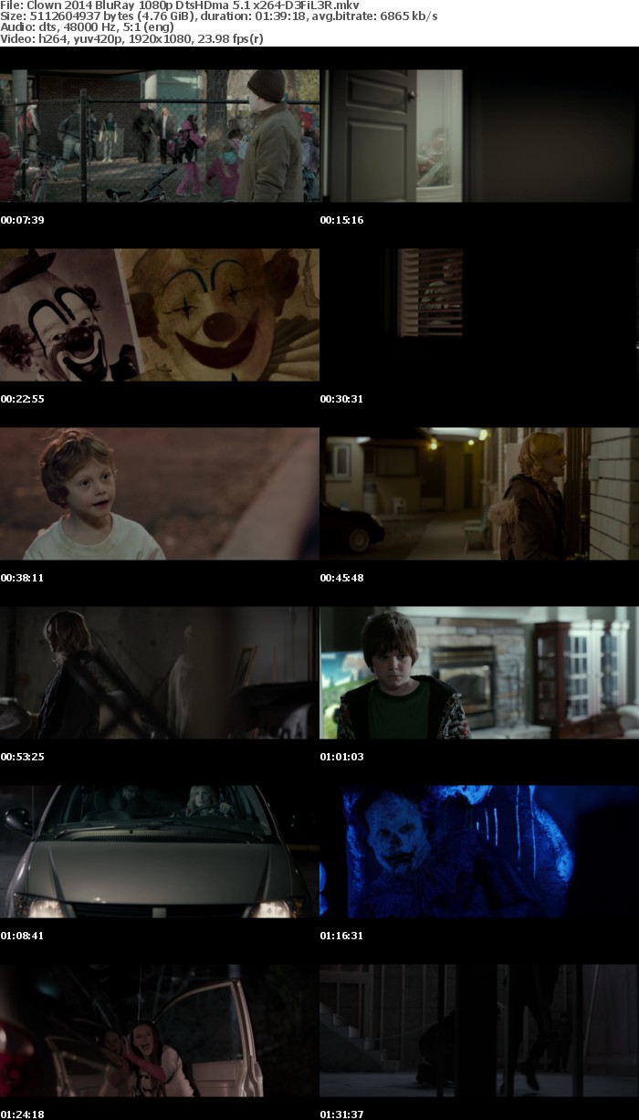 Clown 2014 BluRay 1080p DtsHDma 5 1 x264-D3FiL3R