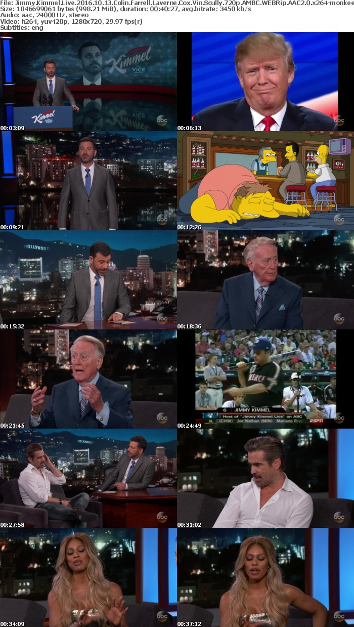 Jimmy Kimmel Live 2016 10 13 Colin Farrell Laverne Cox Vin Scully 720p AMBC WEBRip AAC2 0 x264 monkee