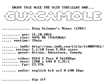 King Solomons Mines 1985 720p BluRay x264-GUACAMOLE