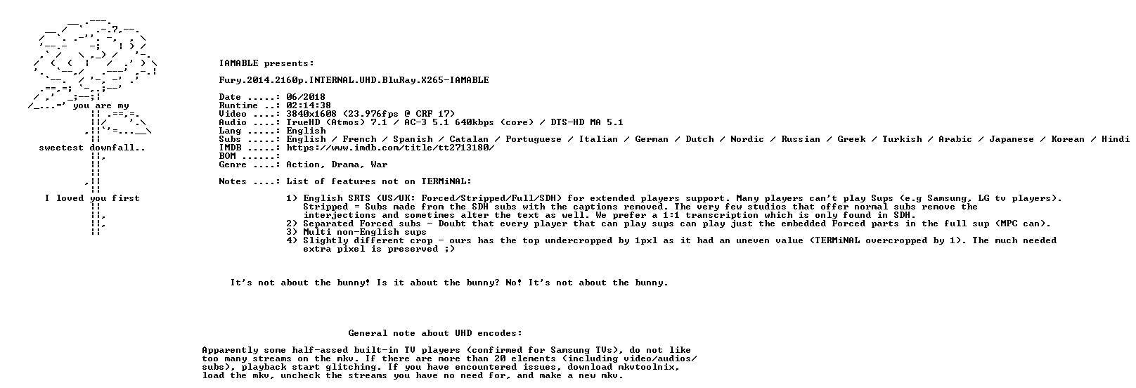 Fury 2014 2160p INTERNAL UHD BluRay X265-IAMABLE