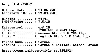 Lady Bird 2017 German DTS DL 720p BluRay x264-COiNCiDENCE