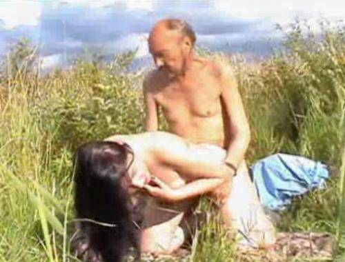 The Russian nature. The young girl fucks with vagabond! On the nature sex ...