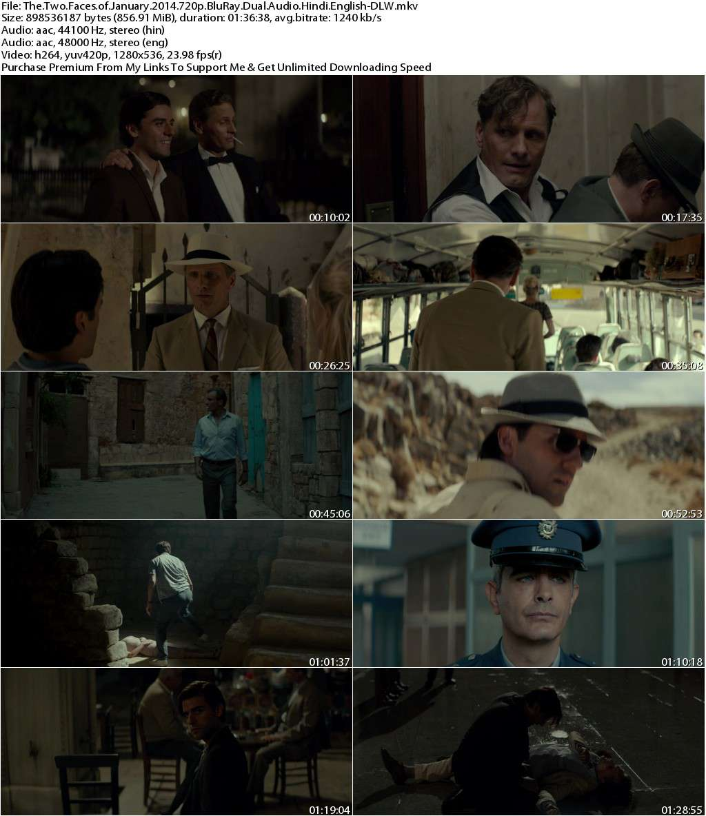 The Two Faces of January (2014) 720p BluRay Dual Audio [Hindi+English]-DLW