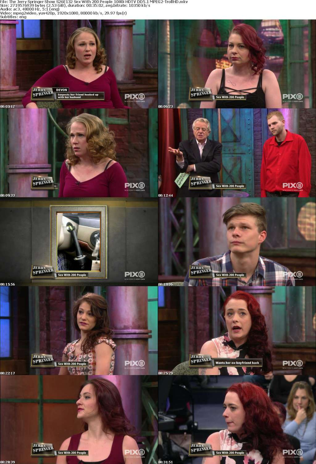 The Jerry Springer Show S26E132 Sex With 200 People 1080i HDTV DD5 1 MPEG2-TrollHD - MPEG2