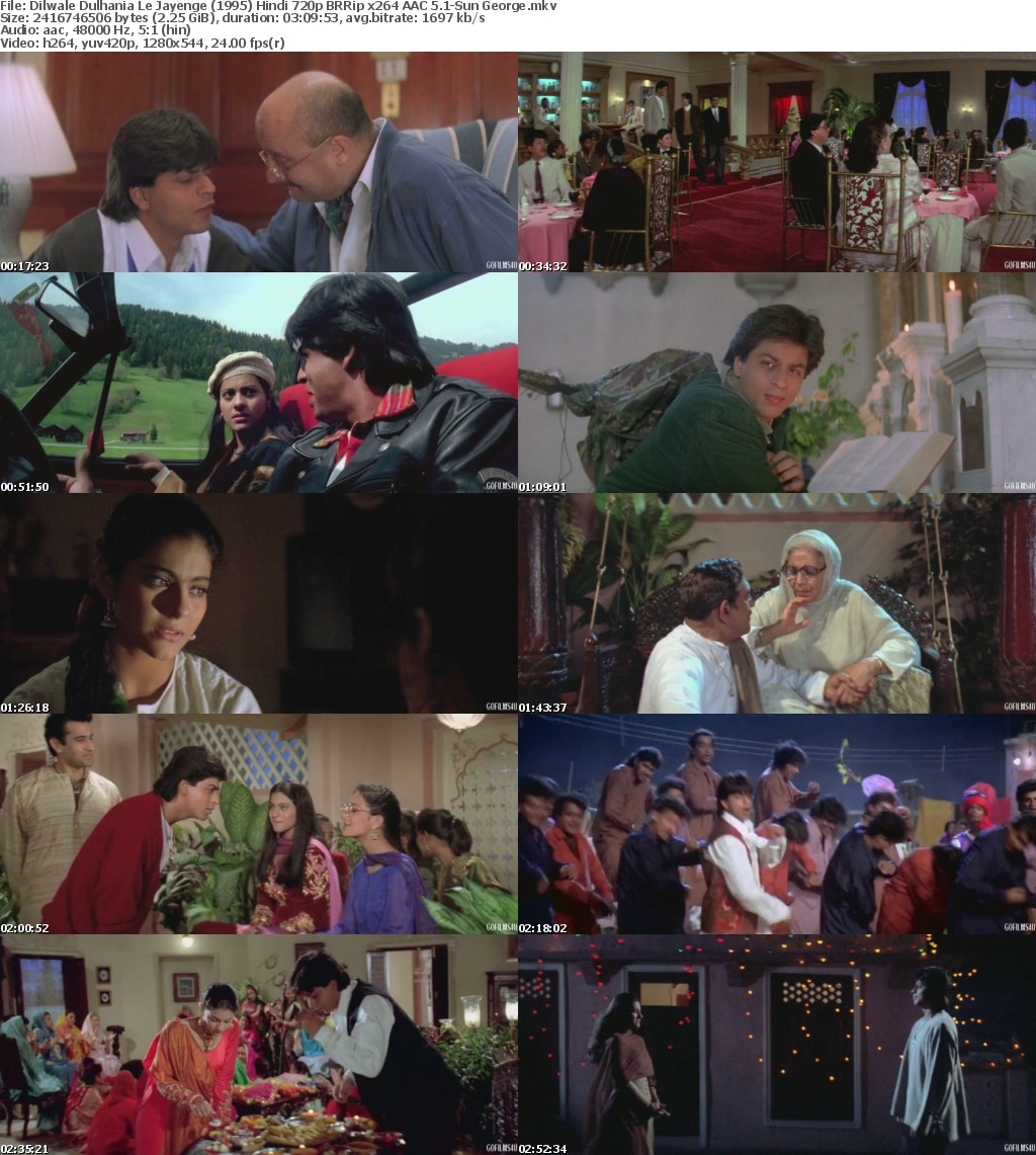 Dilwale Dulhania Le Jayenge (1995) Hindi 720p BRRip x264 AAC 5 1-Sun George