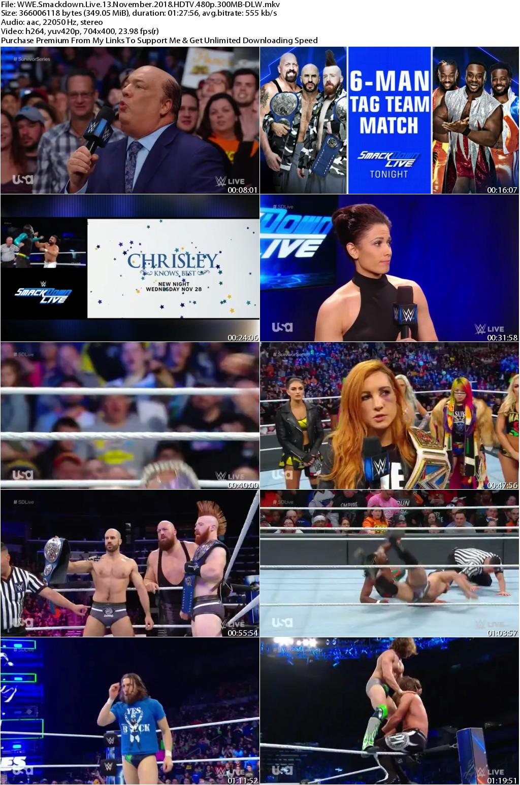 WWE Smackdown Live 13 November 2018 HDTV 480p 300MB-DLW