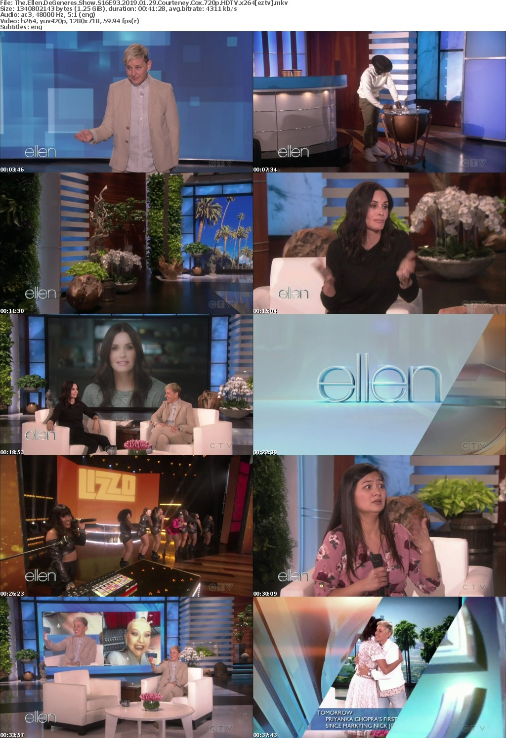 The Ellen DeGeneres Show S16E93 (2019) 01 29 Courteney Cox 720p HDTV x264