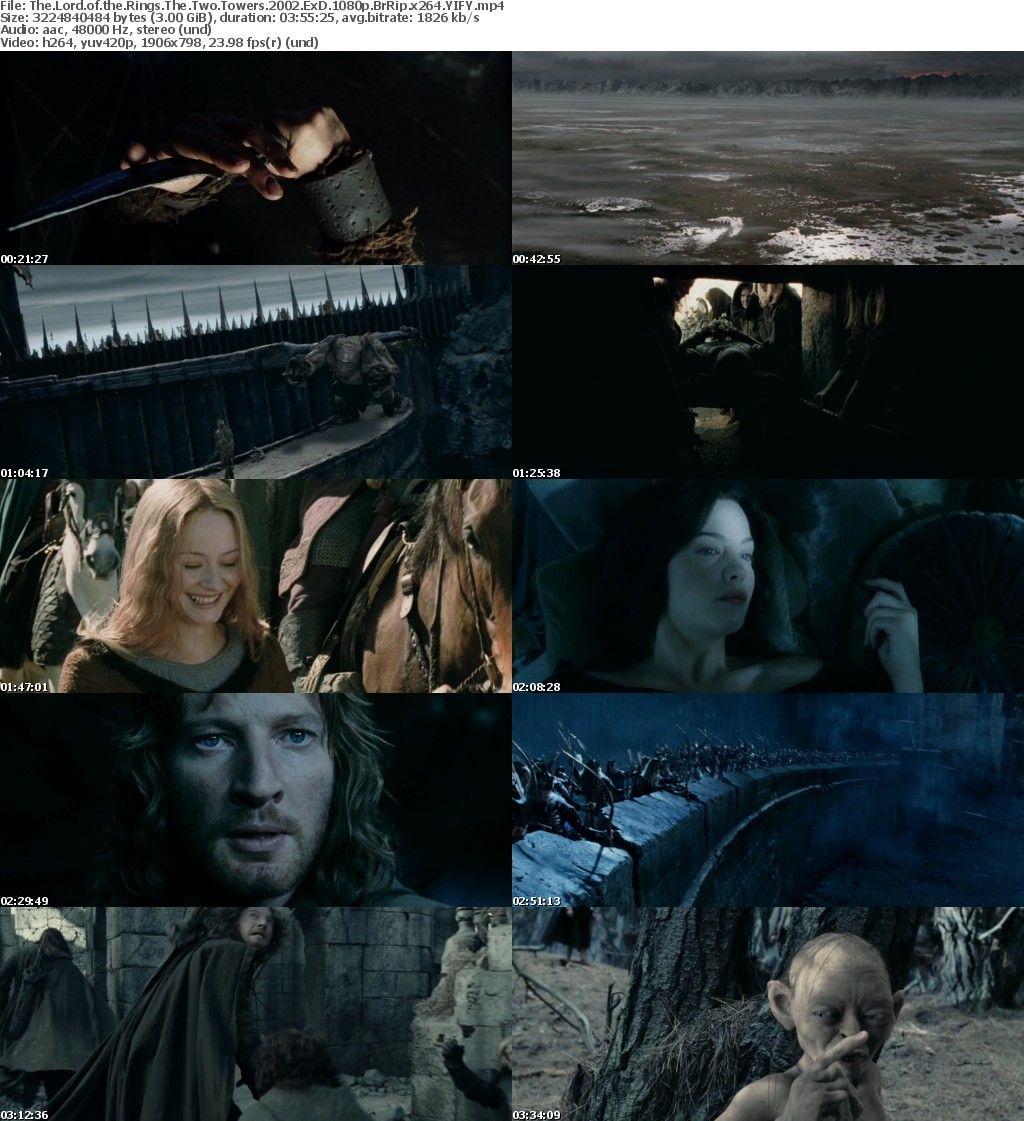 The Lord of the Rings The Two Towers (2002) ExD 1080p BrRip x264 YIFY
