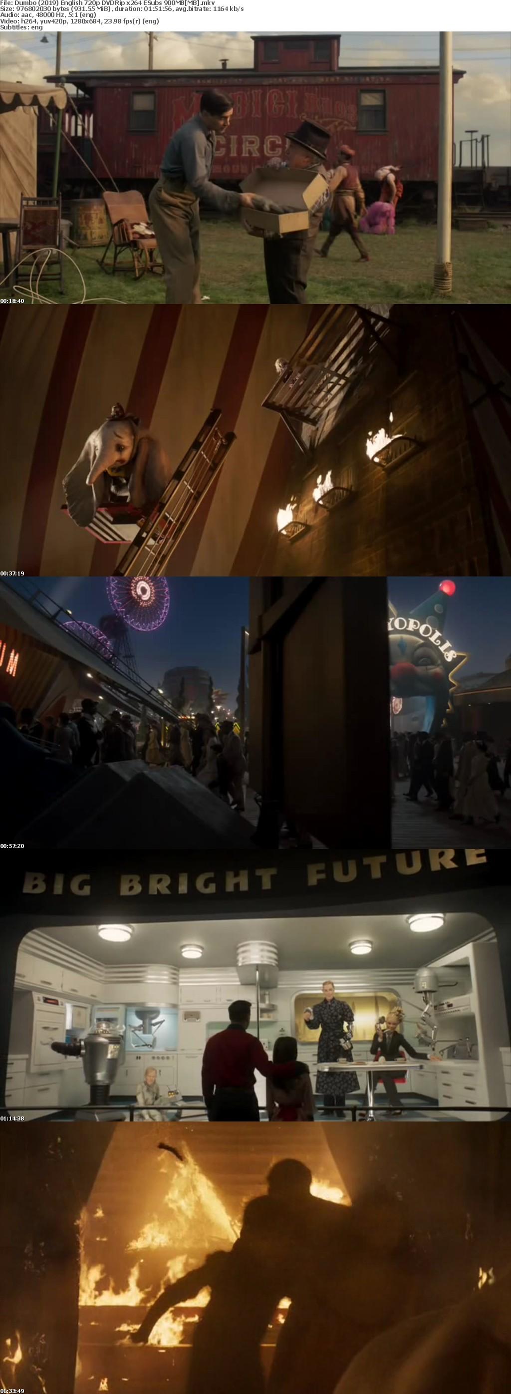 Dumbo 2019 English 720p DVDRip x264 ESubs 900MB[MB]