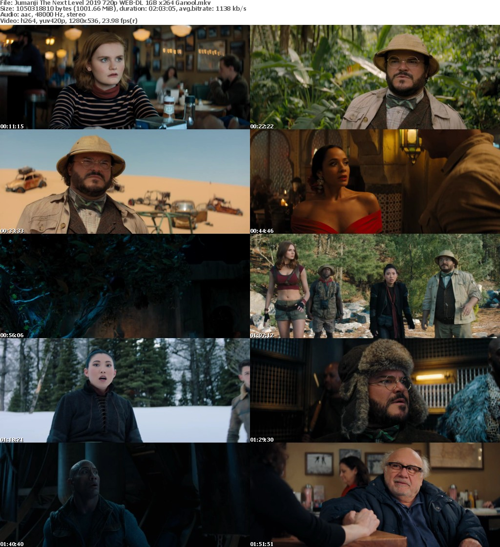 Jumanji The Next Level (2019) 720p WEB-DL 1GB x264 Ganool