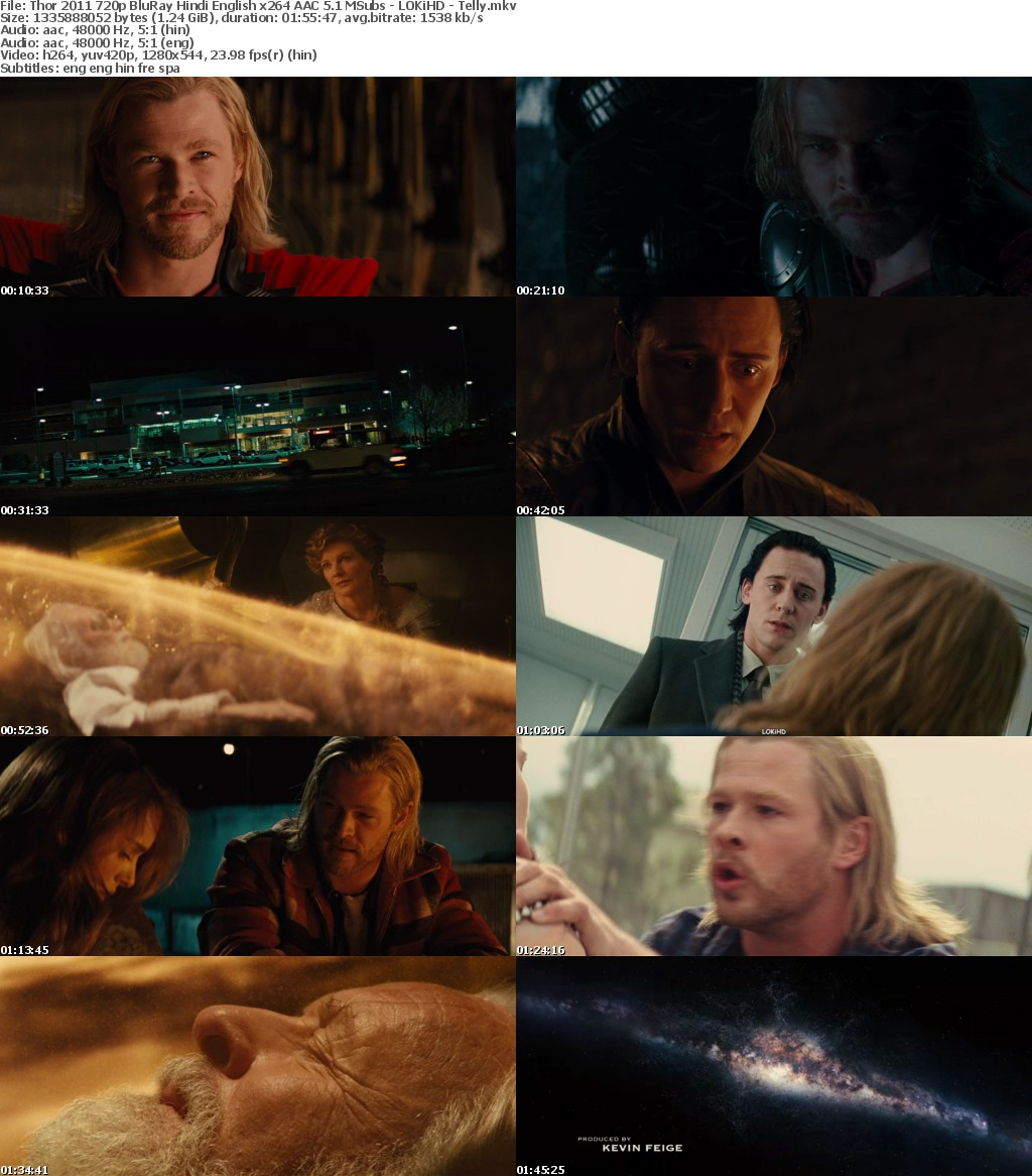 Thor (2011) 720p BluRay Hindi English x264 AAC 5.1 MSubs - LOKiHD - Telly