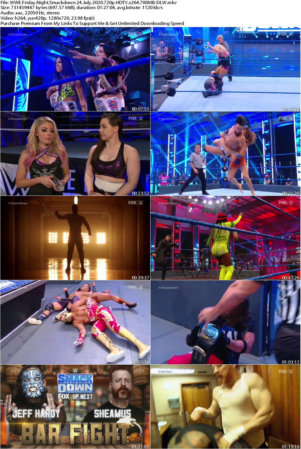 WWE Friday Night Smackdown 24 July 2020 720p HDTV x264 700MB-DLW